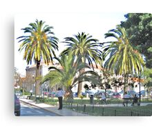 Streetscape with Palmes Canvas Print
