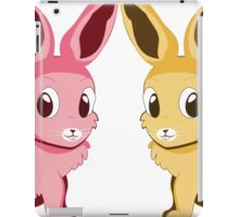 Two cartoon bunnies of pink and yellow colors iPad Case/Skin
