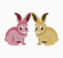 Two cartoon bunnies of pink and yellow colors One Piece - Short Sleeve