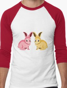 Two cartoon bunnies of pink and yellow colors Men's Baseball ¾ T-Shirt