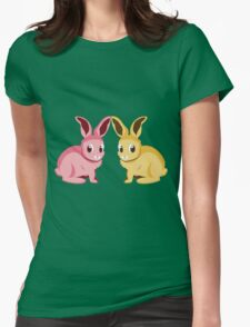Two cartoon bunnies of pink and yellow colors Womens Fitted T-Shirt