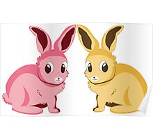 Two cartoon bunnies of pink and yellow colors Poster