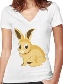 Yellow bunny Women's Fitted V-Neck T-Shirt
