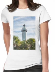 White Lighthouse on Green and Blue Womens Fitted T-Shirt