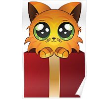 Red kitten in gift box Poster
