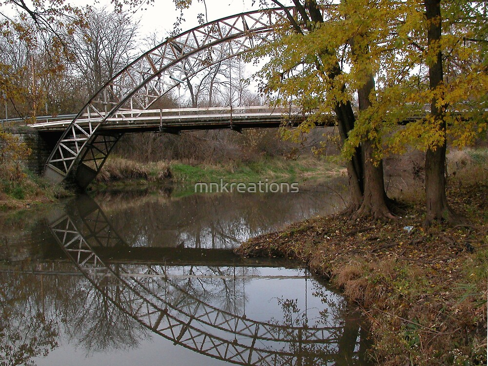 Chapel Bridge over Sugar Creek-Reflection by mnkreations