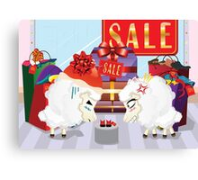 Two angry sheeps in the department store Canvas Print