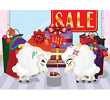 Two angry sheeps in the department store Photographic Print