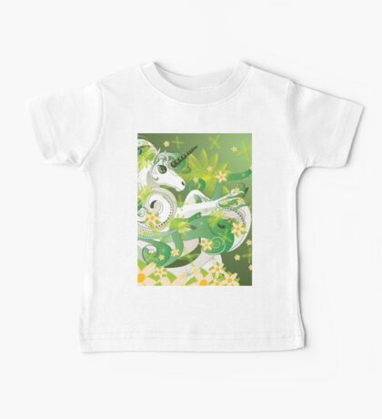White spring unicorn with flowers and floral Baby Tee