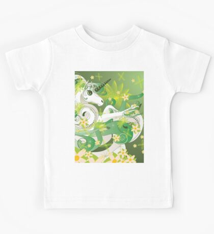 White spring unicorn with flowers and floral Kids Tee