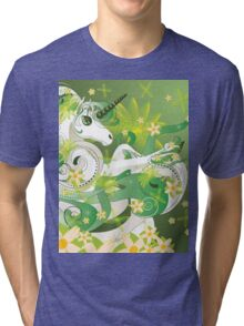 White spring unicorn with flowers and floral Tri-blend T-Shirt