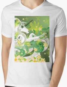 White spring unicorn with flowers and floral Mens V-Neck T-Shirt