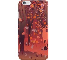 Silhouette of a stag in the forest at the autumn time 2 iPhone Case/Skin
