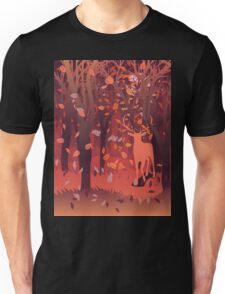 Silhouette of a stag in the forest at the autumn time 2 Unisex T-Shirt