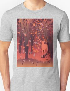 Silhouette of a stag in the forest at the autumn time 2 T-Shirt