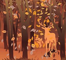 Silhouette of a stag in the forest at the autumn time by AnnArtshock