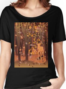 Silhouette of a stag in the forest at the autumn time Women's Relaxed Fit T-Shirt