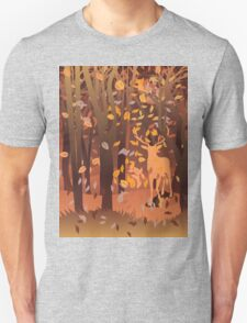 Silhouette of a stag in the forest at the autumn time T-Shirt