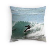Surfing over a 2 metre Bronze Whaler Shark Throw Pillow