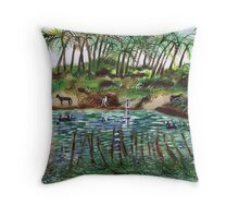 Donkeys drinking from the Jordan river Throw Pillow