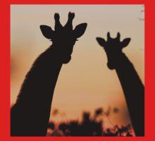 Giraffe Sunset - African Wildlife - Peaceful Tranquility Kids Tee