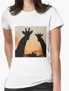Giraffe Sunset - African Wildlife - Peaceful Tranquility Womens Fitted T-Shirt
