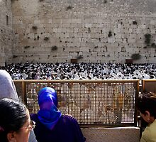 Watching the prayers at The Western Wall by Moshe Cohen
