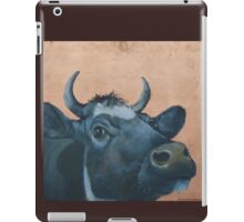 """""""The Grass Is Always Greener..."""" Cow Gazing Over Fence iPad Case/Skin"""