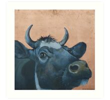 """""""The Grass Is Always Greener..."""" Cow Gazing Over Fence Art Print"""