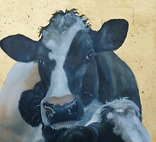 Lean on Me --- Cow Portraits by M. E.  Bilisnansky McMorrow