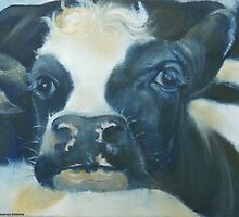 You Can Lean on Me Too --- Cow portrait by M. E.  Bilisnansky McMorrow