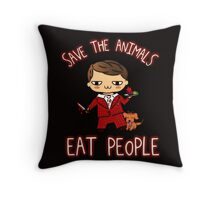 SAVE THE ANIMALS, EAT PEOPLE (3) - hannibal doodle Throw Pillow