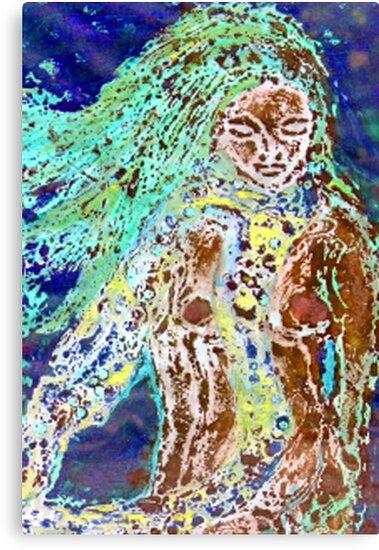 "Lady of the Water - Collagraph Print by Belinda ""BillyLee"" NYE (Printmaker)"