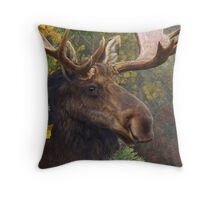 bull moose portrait amid aspen and spruce Throw Pillow