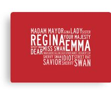 Swan Queen Nicknames (red) Canvas Print