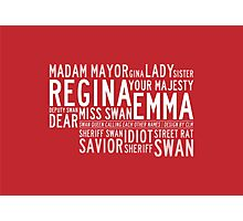 Swan Queen Nicknames (red) Photographic Print