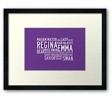 Swan Queen Nicknames (purple) Framed Print