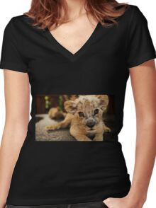 Lion Cub Women's Fitted V-Neck T-Shirt