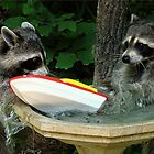 Raccoonzilla and Speeding Boat by Jean Gregory  Evans