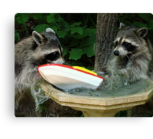 Raccoonzilla and Speeding Boat Canvas Print