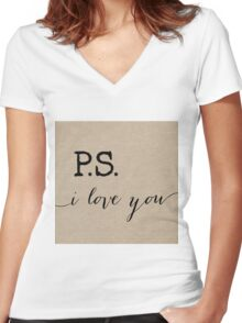 P.S. I love you in Burlap Women's Fitted V-Neck T-Shirt