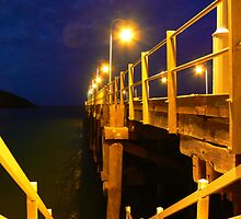 Coofs Harbour peer at night by proimageprints