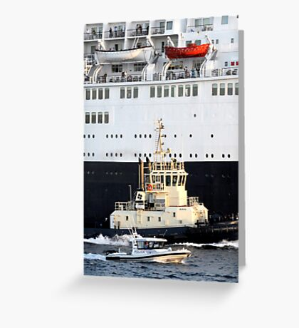 Escorting the QE2 Greeting Card