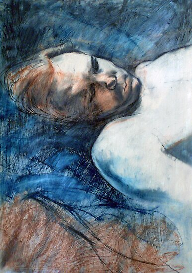 Travis sleeping : pastel and conte drawing by Roz McQuillan