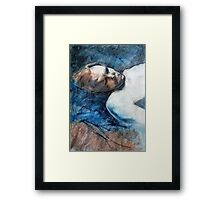 Travis sleeping : pastel and conte drawing Framed Print
