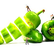 Chopping Green Peppers by Paul Ge