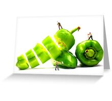 Chopping Green Peppers Greeting Card