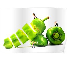 Chopping Green Peppers Poster