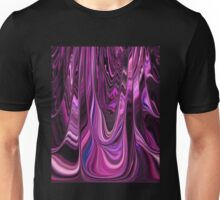 Shades of Pink Chrome Ribbons Abstract Flowing Color Movement Unisex T-Shirt