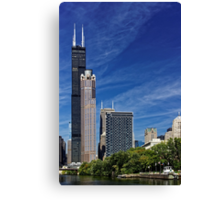 A Chicago river cruise view towards  the Willis Tower Canvas Print
